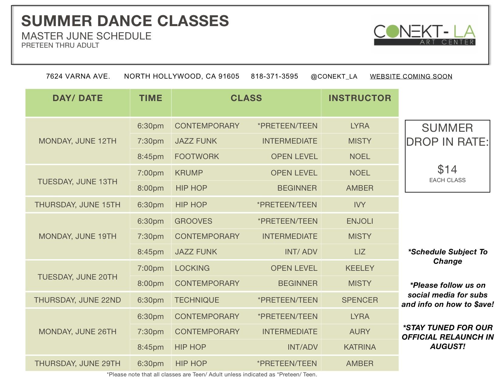 Summer MASTER Schedule Preteen thru Adults