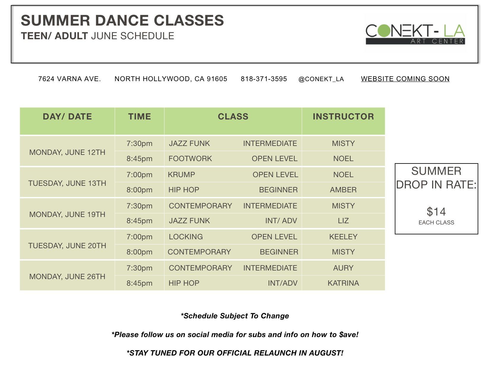 Summer teen: adult classes