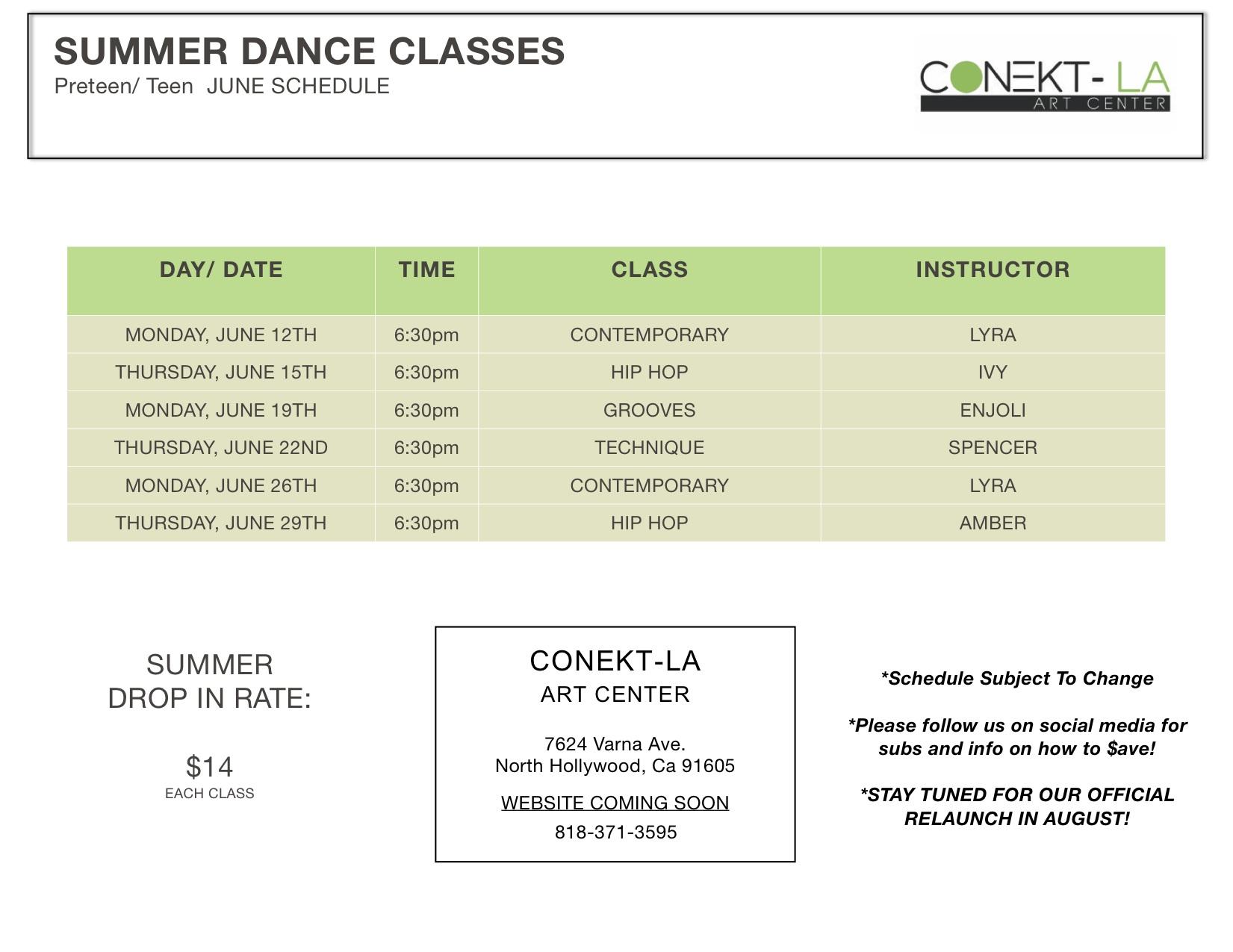 summer preteen teen classes
